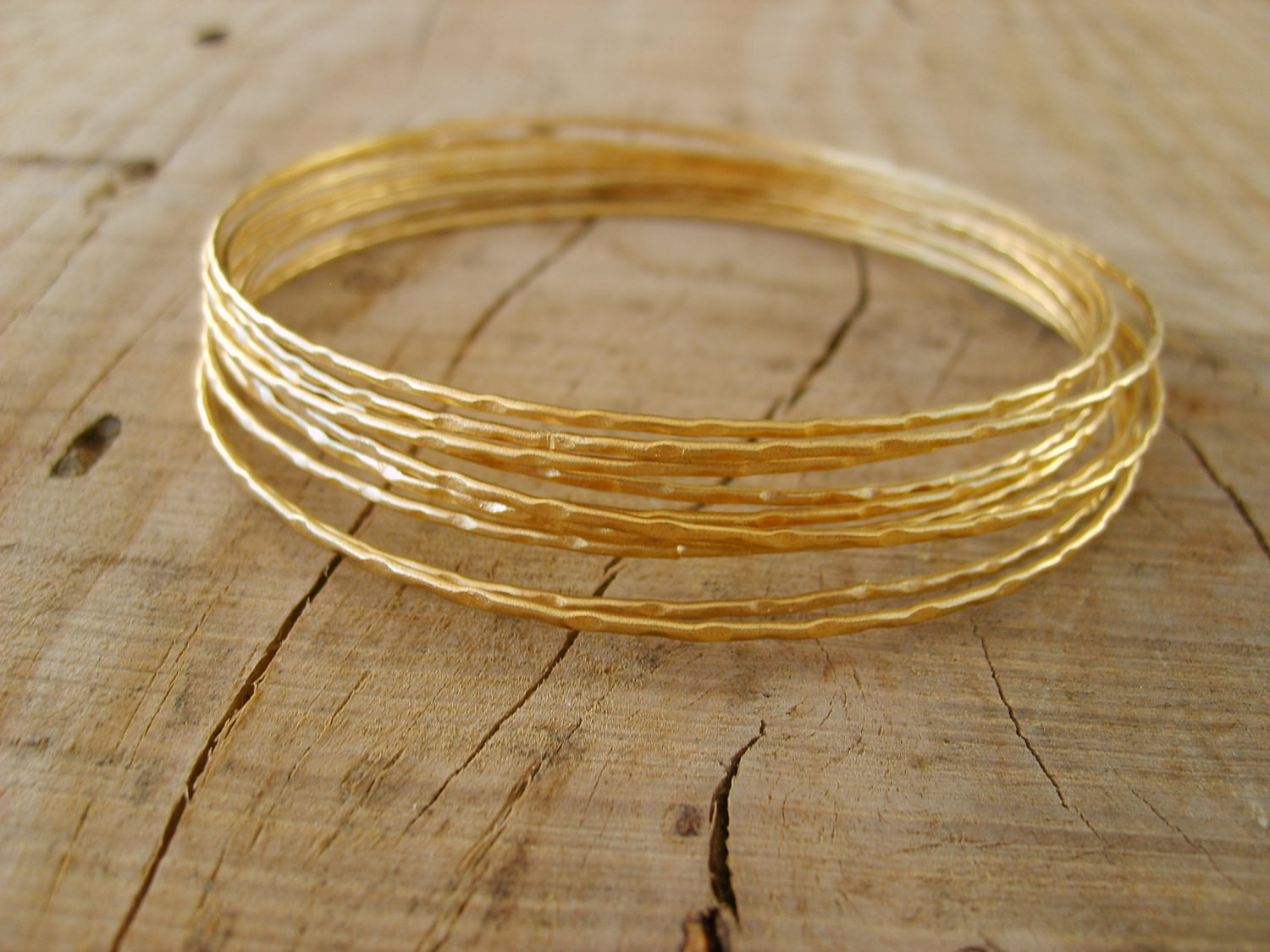 Thin Gold Bracelet  Hand crafted thin bangle bracelets in gold gold bangle