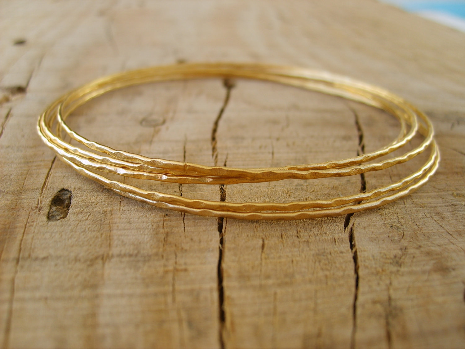 Thin Gold Bracelet  Hand crafted thin bangle bracelets in gold gold bangle by