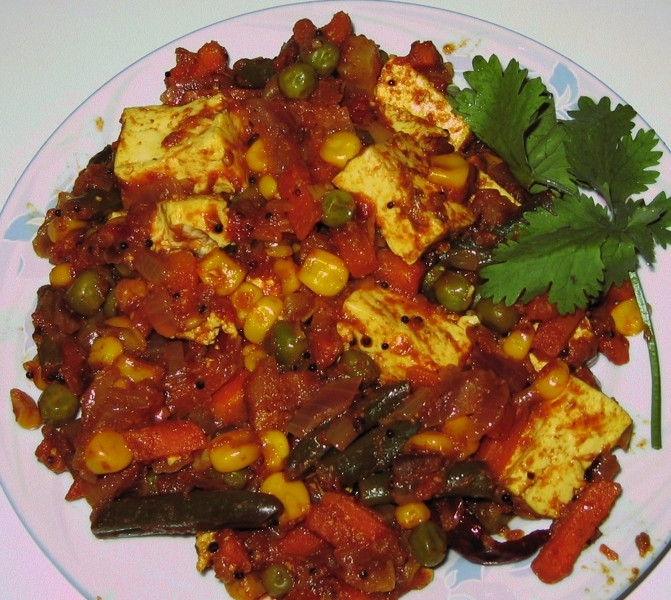 Tofu Indian Recipes Vahrehvah  Indian Style Curried Tofu & Mixed Ve ables Recipe by