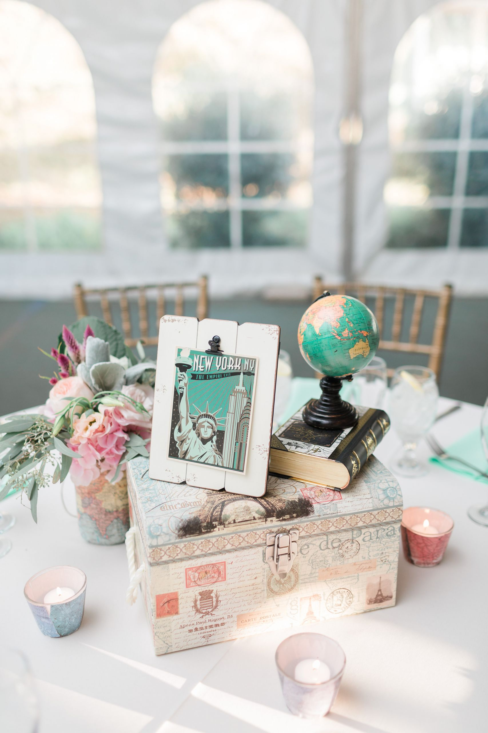 Travel Theme Wedding  Dreamy Travel themed Wedding at Stone Manor Country Club