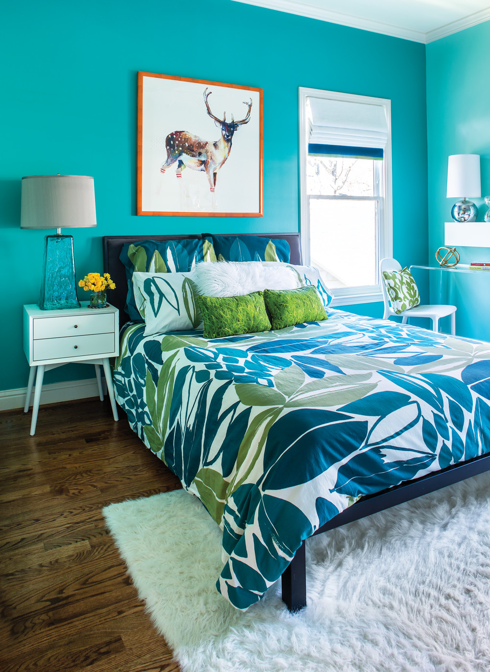 Turquoise Bedroom Decoration  Room Envy This bright turquoise bedroom is a teen dream