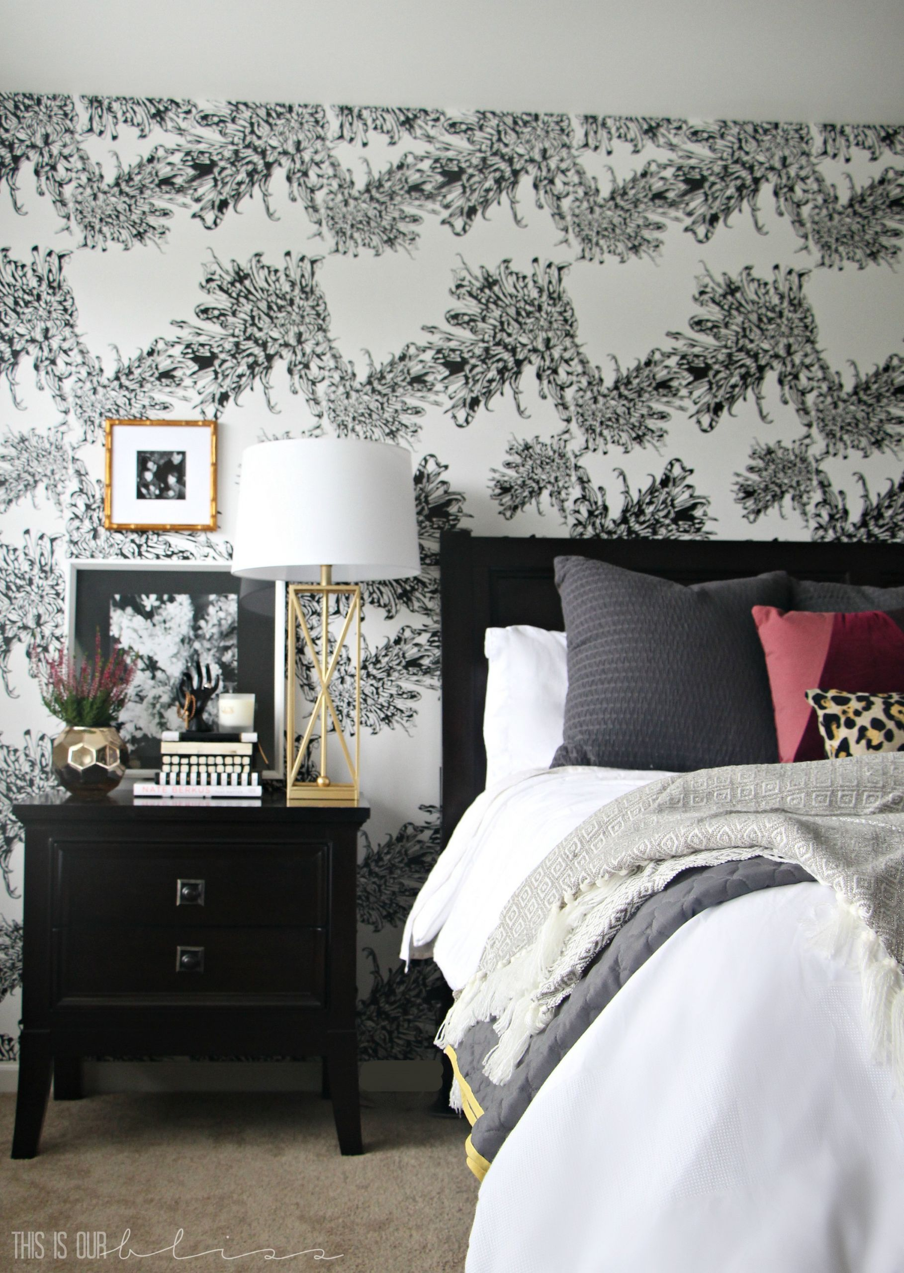 Wall Pictures For Bedroom  Master Bedroom Accent Wall with Wallpaper This is our Bliss