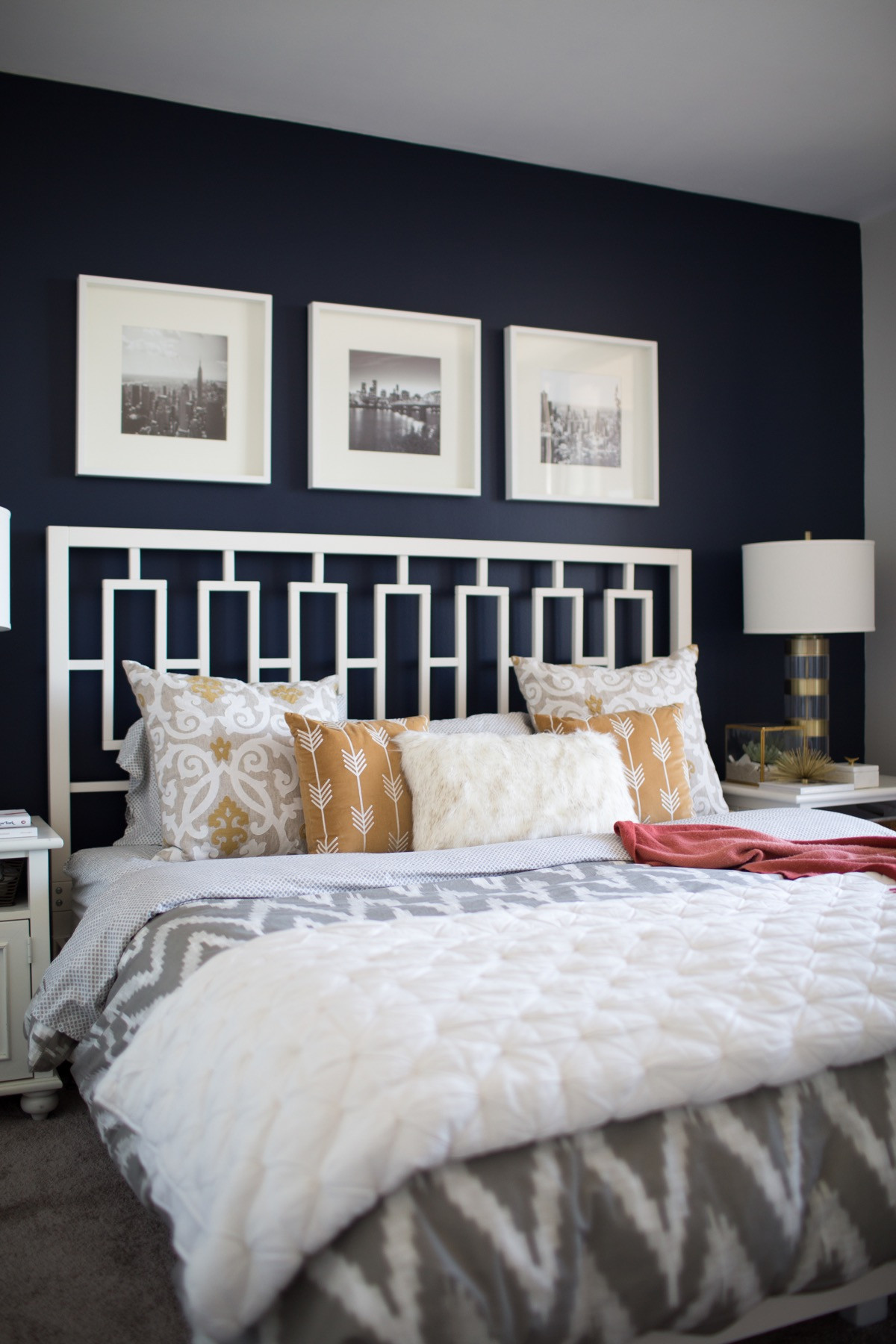 Wall Pictures For Bedroom  A Look Inside A Blogger s Navy and Mustard Bedroom My