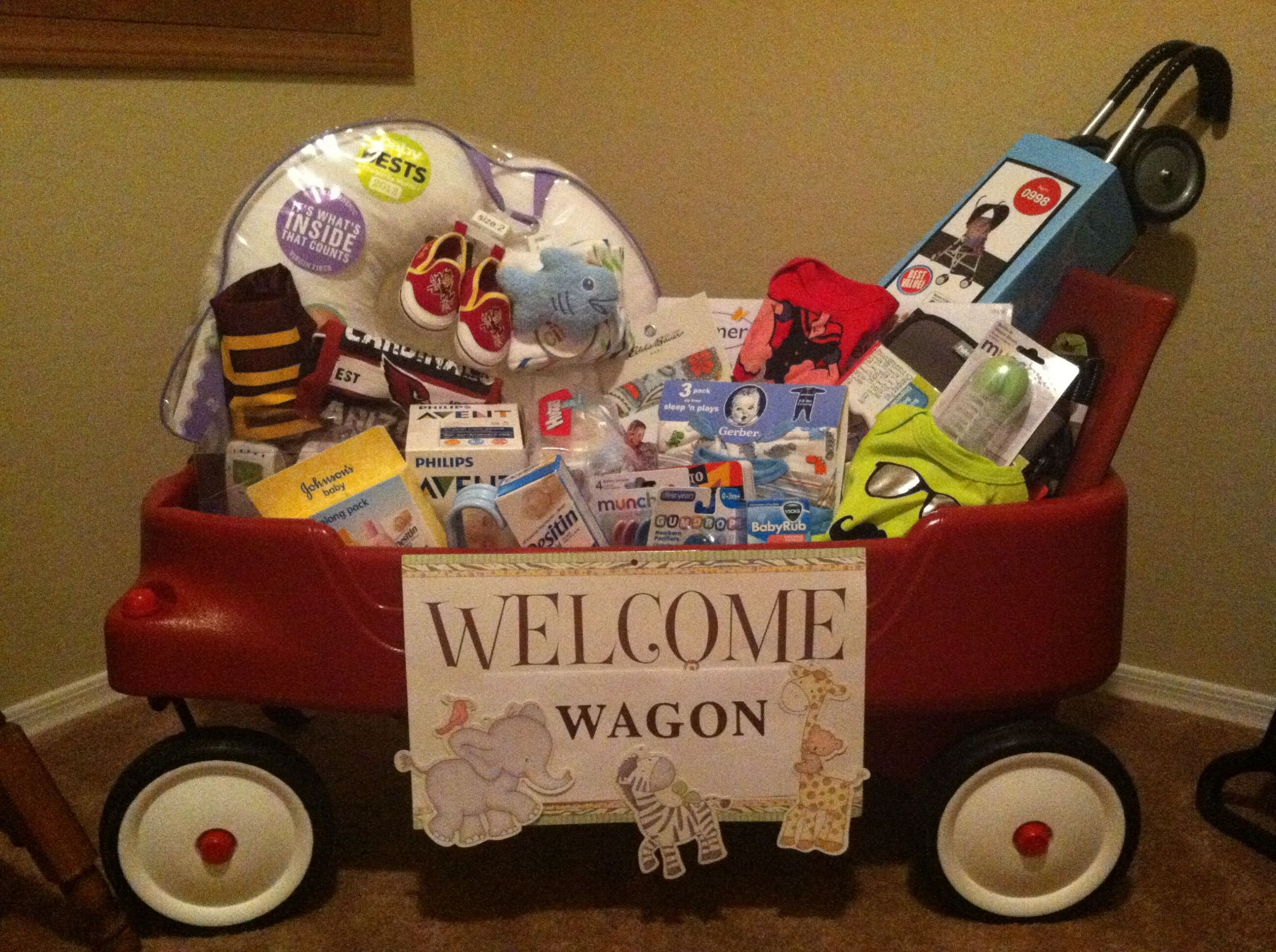 """Welcome Baby Gift Ideas  """"Wel e Wagon"""" baby shower t My creation"""
