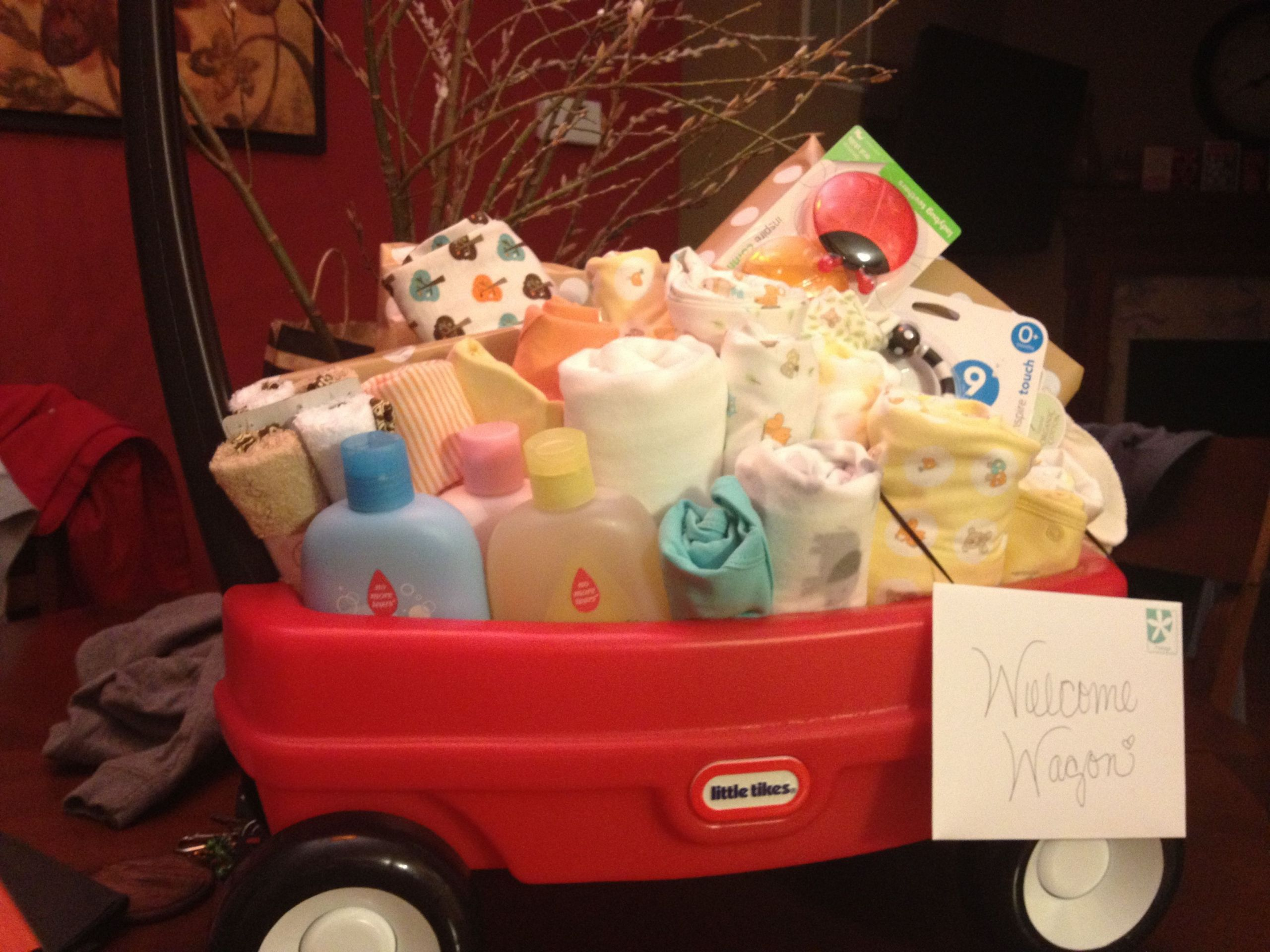 Welcome Baby Gift Ideas  Wel e wagon baby shower t Made it for one of the