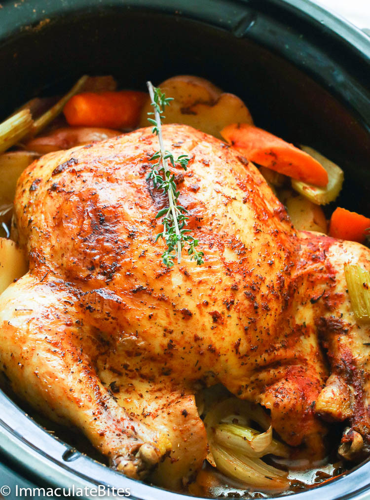 Whole Chicken In A Slow Cooker  Slow Cooker Whole Chicken Immaculate Bites