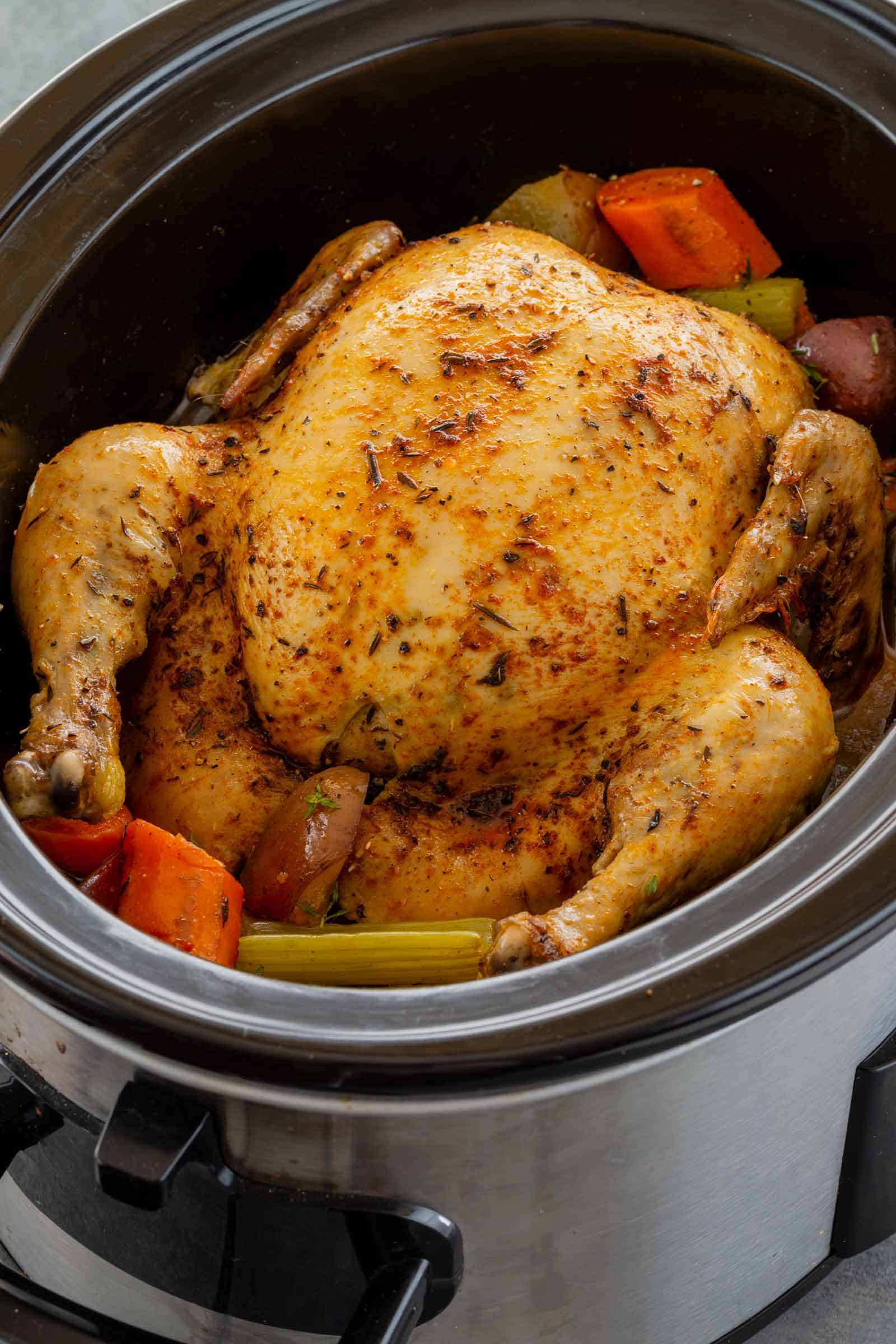 Whole Chicken In A Slow Cooker  Slow Cooker Whole Chicken Cafe Delites