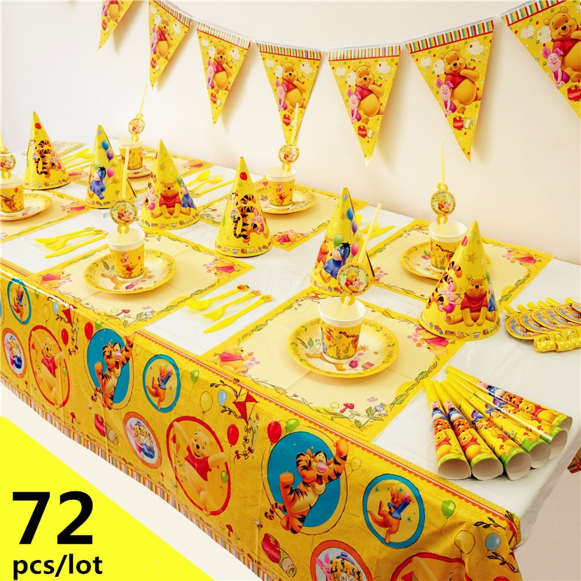 Winnie The Pooh Baby Shower Decorations Party City  72pcs Luxury Disney Winnie the Pooh Piglet Tigger baby