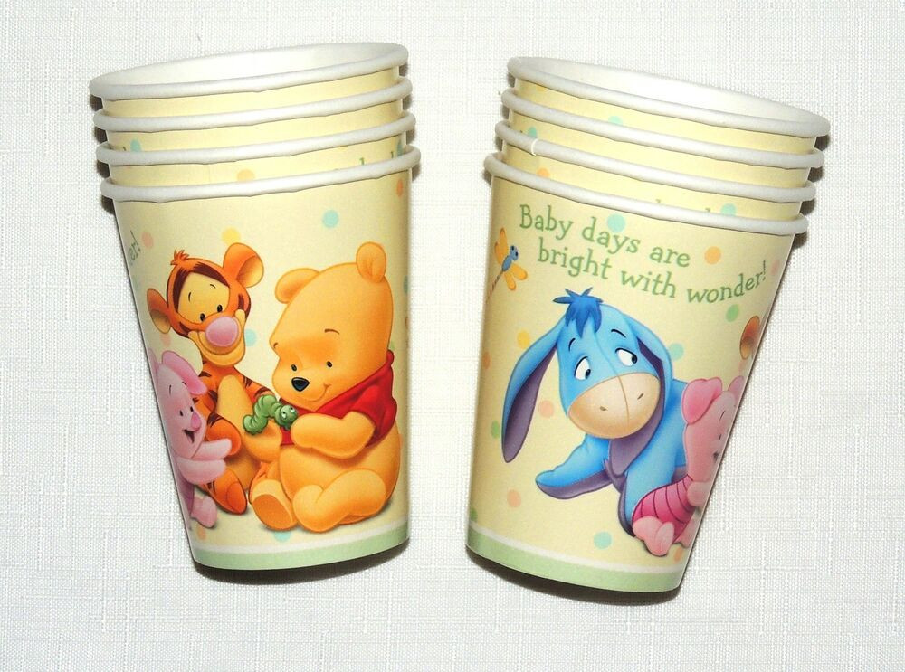 Winnie The Pooh Baby Shower Decorations Party City  BABY WINNIE THE POOH BABY DAY S 8 PAPER CUPS BABY SHOWER