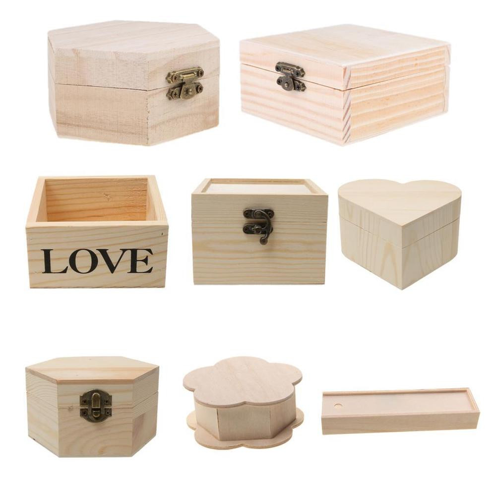 Wood Crafting Gifts  Wooden Unfinished Wood Box Jewelry Gift Boxes for Kids